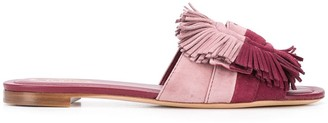 Tod's Two-Tone Fringe Suede Sandals