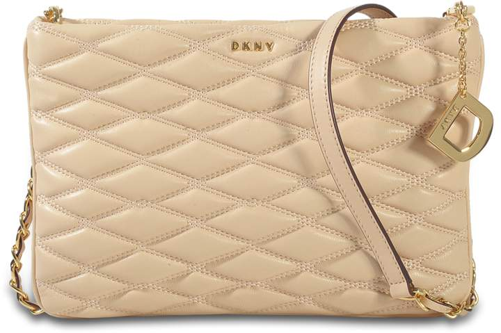 DKNY Diamond Quilted Top Zip Crossbody Bag in Egg Nog Quilted Lamb Nappa Leather