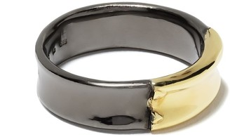 5 Octobre 14kt yellow gold and blackened silver Bobbie ring