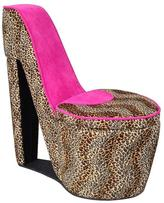 ORE International High Heel Storage Chair in Pink Cheetah Prints