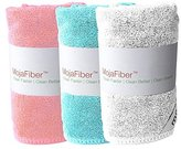 """Plush MojaFiber Microfiber Face Cloth: Ultra Dense 3 Pk - 12""""x12""""