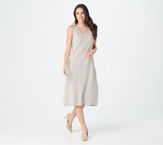 Logo by Lori Goldstein Embroidered Knit Tank Dress