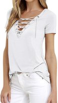 uxcell® Women Eyelet Design Lace Up Front V Neck Stretchy Tee Shirt