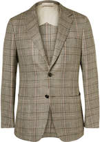 Dunhill - Brown Houndstooth Checked Silk, Linen And Wool Blend Blazer