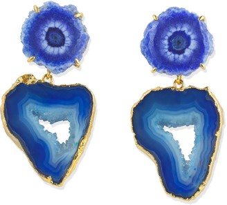 Yaa Yaa London 'Deep Love' Cobalt Blue Gemstone Gold Statement Earrings