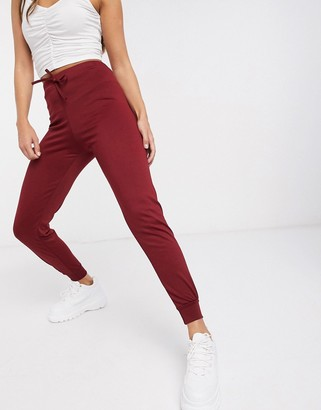 Street Collective mix and match high waisted joggers in burgundy
