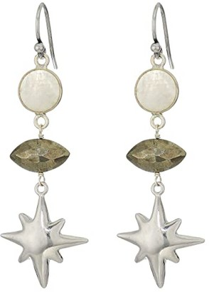 Chan Luu Semi Precious Stone Earrings with Star (Moonstone Mix) Earring
