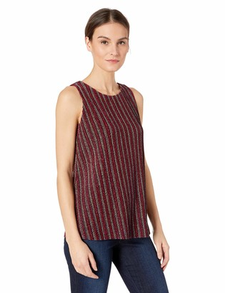 ECI New York Women's Sleevless Shining Metalic Stripes top