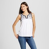 U-knit Women's Embroidered Knit Tank with Contrast Beading