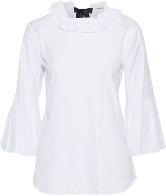 Stateside Fluted Ruffle-trimmed Cotton-poplin Blouse