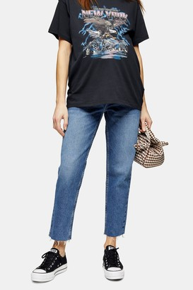 Topshop Womens **Maternity Mid Stone Over The Bump Straight Jeans - Mid Stone