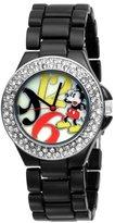 Disney Women's MK2080 Mickey Mouse Mother-of-Pearl Dial Black Enamel Bracelet Watch
