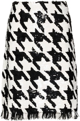 Ashish Houndstooth-Pattern Sequin-Embellished Skirt