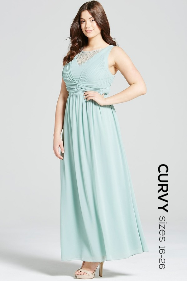 Thumbnail for your product : Little Mistress Curvy Sage Empire Line Maxi Dress