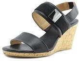Calvin Klein Brandie Smooth/eastic Women Open Toe Leather Black Wedge Sandal.