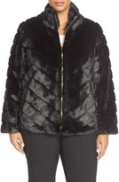 Ellen Tracy Plus Size Women's Chevron Grooved Faux Fur Coat