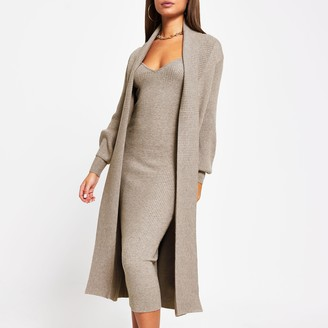 River Island Womens Grey long sleeve knitted maxi cardigan