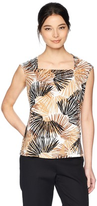 Kasper Women's Petite Scattered Palms Printed Square Neck Ity Cami
