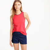 J.Crew Faux-leather scalloped trim tank top