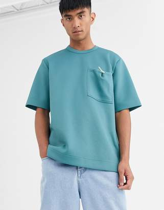 Asos loose fit t-shirt with toggle pocket-Green