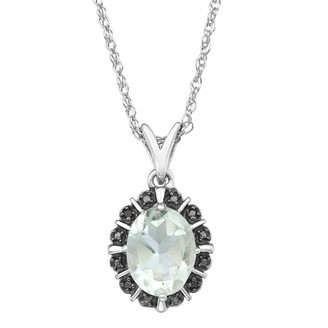 Sterling Silver Gemstone & Black Diamond Accent Pendant Necklace