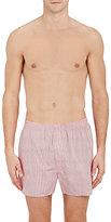 Sunspel Men's Micro-Checked Boxers-WHITE