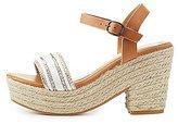 Charlotte Russe Bamboo Beaded Platform Espadrille Sandals