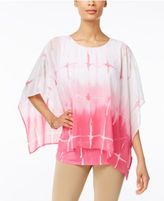JM Collection Petite Printed Poncho Blouse, Only at Macy's