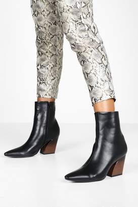 boohoo Flared Heel Pointed Toe Shoe Boots