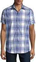 Robert Graham East Timor Plaid Short-Sleeve Sport Shirt, Blue