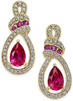 Macy's Certified Ruby (1-1/3 ct. t.w.) and Diamond (1/4 ct. t.w.) Drop Earrings in 14k Gold