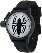 Marvel Black Spider Mens Black Silicone Strap Crown Protector Watch