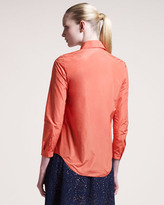 Carven Long-Sleeve Taffeta Shirt
