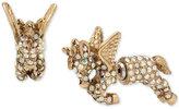 Betsey Johnson Gold-Tone Pavé Unicorn Front-Back Earrings