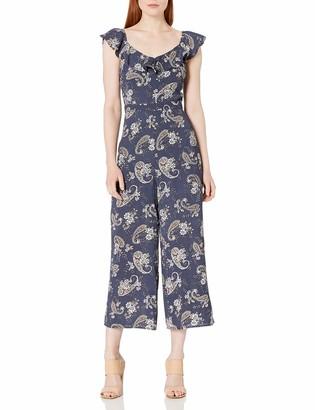 J.o.a. Women's Pasiley Print Ruffle Jumpsuit