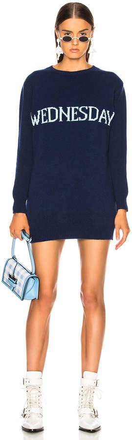 Alberta Ferretti Wednesday Crewneck Sweater Dress in Indigo & Light Blue | FWRD