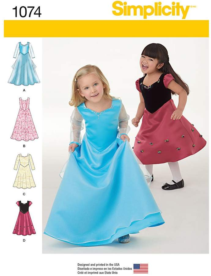 Simplicity Children's Princess Party Dresses Sewing Pattern, 1074