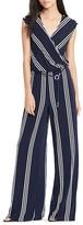 Lauren Ralph Lauren Stripe Faux Wrap Jersey Jumpsuit