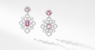 David Yurman Gems Spinel Chandelier Earrings In White Gold With