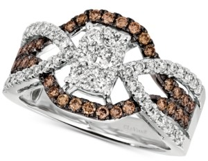 LeVian Le Vian Diamond Cluster Crossover Statement Ring (1 ct. t.w.) in 14k White Gold