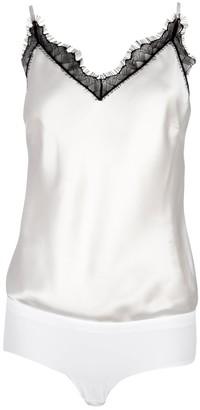 Ukulele White Lace-Trim Silk Cami Bodysuit