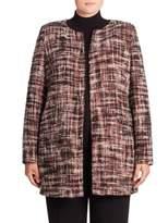 Basler, Plus Size Collarless Tweed Jacket
