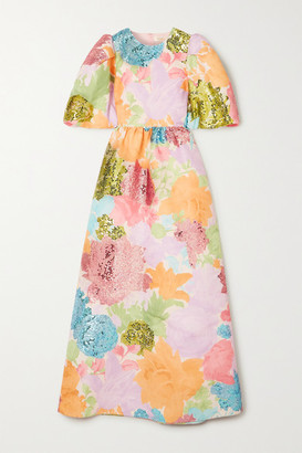 Stine Goya Net Sustain Ina Sequin-embellished Floral-print Mikado Gown - Pink