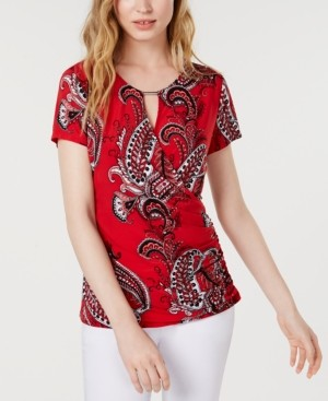 INC International Concepts Inc Hardware Paisley Surplice Top, Created for Macy's