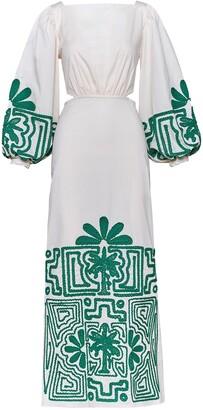 Johanna Ortiz Embroidered Stretch Cotton Poplin Dress