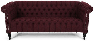 Gdfstudio Edgar Traditional Chesterfield Sofa With Tufted Cushions, Wine, Black