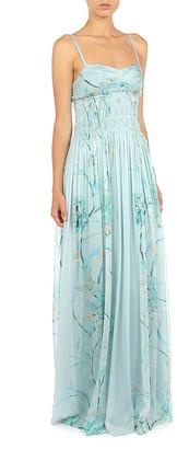 Alberta Ferretti Hibiscus Rampage Floral-Printed Chiffon Slip Gown
