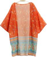 POGTMM Womens 3/4 Sleeve Beachwear Cover up Kimono (L, )