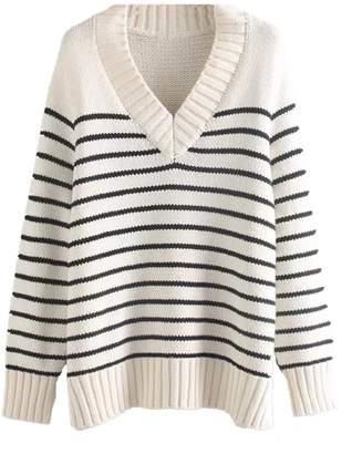 Goodnight Macaroon 'Ponnie' Striped V-Neck Sweater