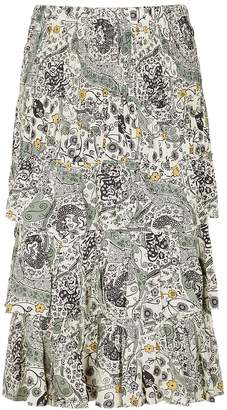Etoile Isabel Marant Cencia Printed Ruffle-trimmed Midi Skirt